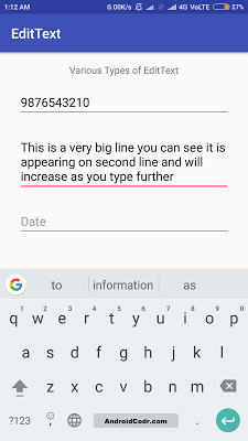 Edittext android example - Android Codr - Android tutorial for beginners