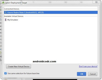 Use mobile as Emulator in Android studio