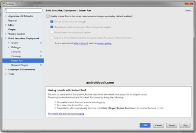 disable instant run android studio